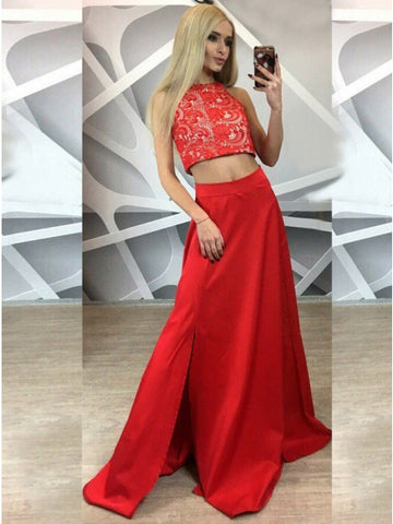Two Piece A-Line Round Neck Red Satin Prom Dress with Lace Split,CD060