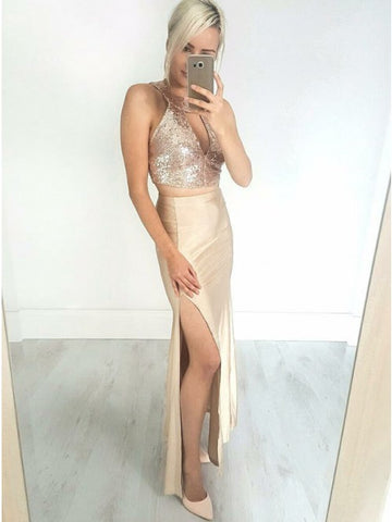 Sheath Round Neck Champagne Stretch Satin Prom Evening Dress with Keyhole Sequins,CD061