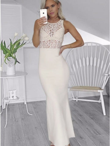 Mermaid Round Neck Ivory Stretch Satin Long Prom Dress with Lace,CD063