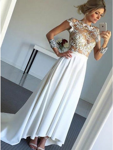 A-Line Scalloped-Edge Pleated White Satin Prom Dress with Appliques,CD070