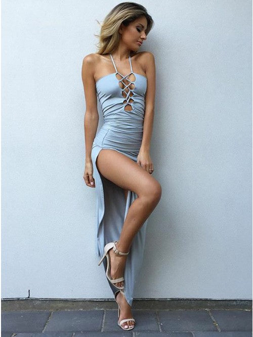 Sheath Halter Lace Up Front Light Blue Stretch Satin Prom Dress with Split,CD072