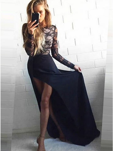 Sheath Round Neck Sweep Train Black Satin Prom Evening Dress with Lace,CD075