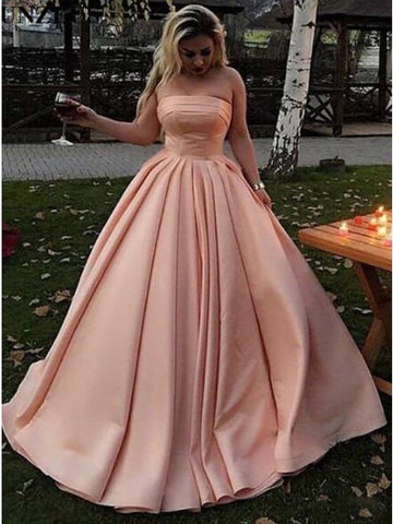 A-Line Strapless Sweep Train Long Pink Satin Prom Dress with Pleats,CD081