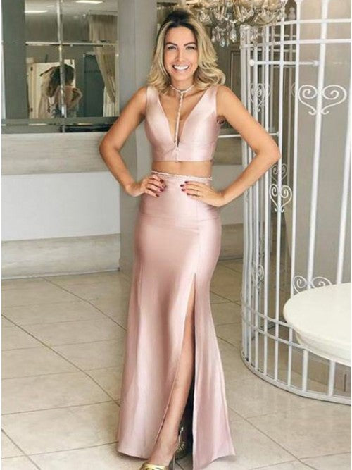 Two Piece Mermaid V-Neck Sleeveless Blush Stretch Satin Prom Dress,CD086