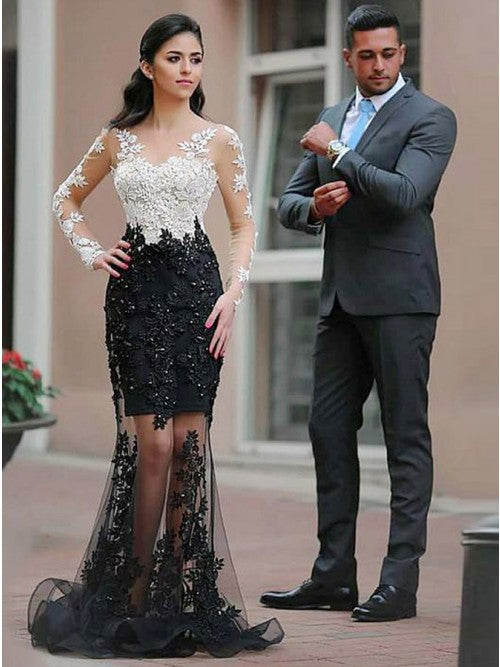 Mermaid Scalloped-Edge Black Tulle Prom Dress with Beading Appliques,CD091