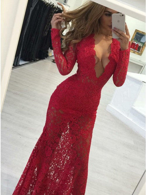 Mermaid Deep V-Neck Long Sleeves Red Lace Prom Dress,CD101