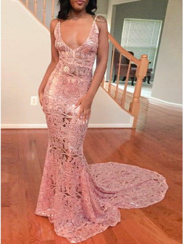 Mermaid Scoop Court Train Sleeveless Pink Lace Prom Dress,CD112