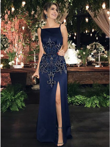 Sheath Square Neck Dark Navy Prom Dress with Appliques Sequins,CD113