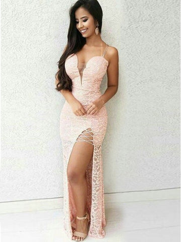 Mermaid Spaghetti Straps Floor-Length Pink Lace Prom Dress,CD114
