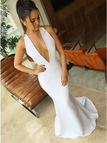Mermaid Deep V-Neck Sweep Train White Stretch Satin Prom DressCD115