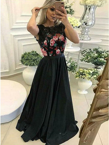 A-Line Scalloped-Edge Black Satin Prom Dress with Appliques,CD119
