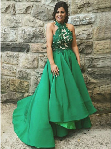 A-Line Halter Sweep Train Green Satin Prom Dress with Appliques,CD120