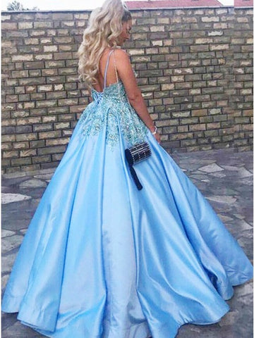 A-Line Sky Blue Satin Prom Dress with Appliques Beading Rhinestone,CD124