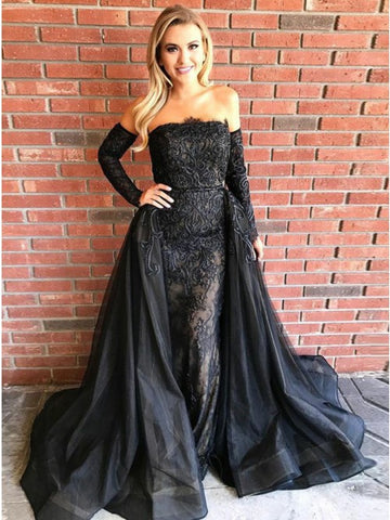 A-Line Strapless Detachable Train Black Tulle Prom Dress with Lace,CD127