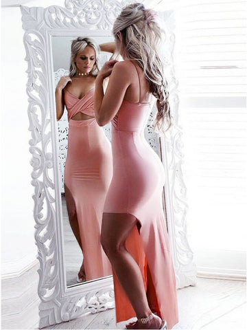 Mermaid V-Neck Sleeveless Pink Stretch Satin Prom Dress with Split,CD129
