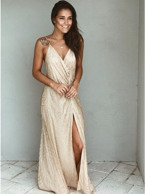 Generous V-neck Champagne Split Sequined Prom Party Dress,CD1723
