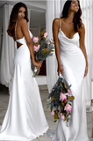 Cute Prom Dress, Sexy Slim White Wedding Dresses with Cowl Back,CD233