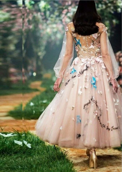 Princess A-Line Long Sleeve Blush Pink Tulle Prom Dresses with Embroidery Homecoming Dress,CD256