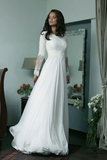 White long sleeve lace prom Dress, evening dresses ,CD265