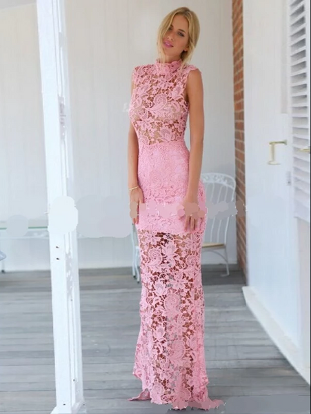 Chic Pink Prom Dress Simple Modest Elegant Cheap Lace Long Prom Dress , CD400