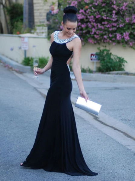 Sheath Black Prom Dress Modest Cheap Long Prom Dress, CD410