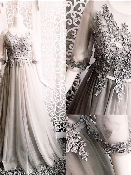 Silver Elegant Prom Dress Lace Modest African Cheap Long Prom Dress, CD433