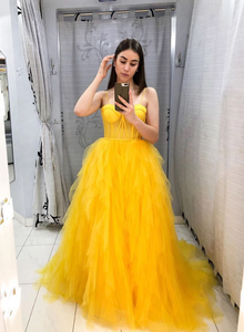 Yellow tulle long prom dress evening dress, CD442