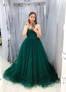 Green tulle long prom dress party dress, CD443