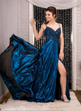 Blue beads satin long prom dress evening dress, CD444