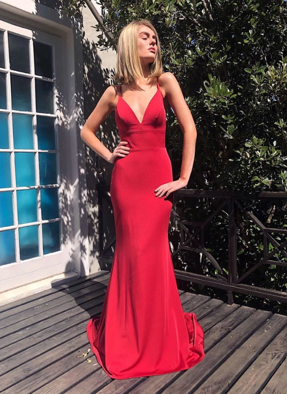 Red backless prom dress mermaid evening dress, CD445