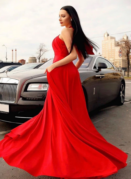 Stylish red hanging neck long prom dress, red evening dress, CD452
