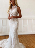Mermaid lace long prom dress, evening dress, CD454