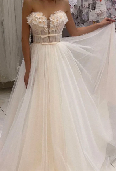Elegant tulle sweetheart long prom dress tulle formal dress, CD461