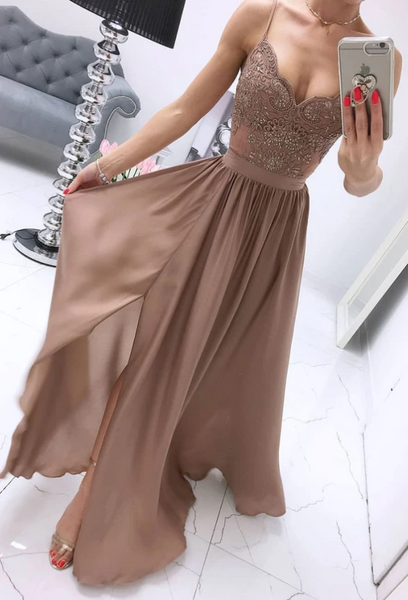 Champagne chiffon sweetheart lace long prom dress, chiffon evening dress, CD462