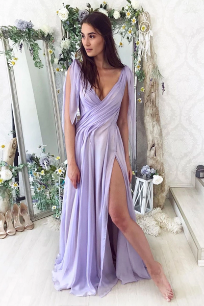 Simple purple chiffon long prom dress purple formal dress, CD464
