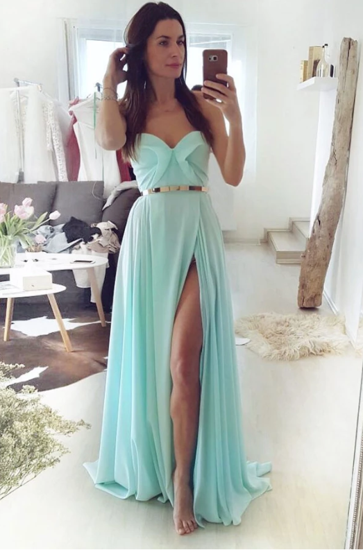 Simple green chiffon long prom dress green evening dress, CD469