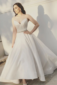 White sweetheart satin tea Length prom dress, bridesmaid dress, CD472