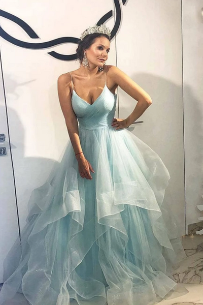 Blue tulle long prom gown, blue tulle formal dress, CD475