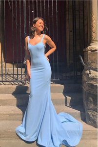 Blue satin mermaid long prom dress, blue evening dress, CD479