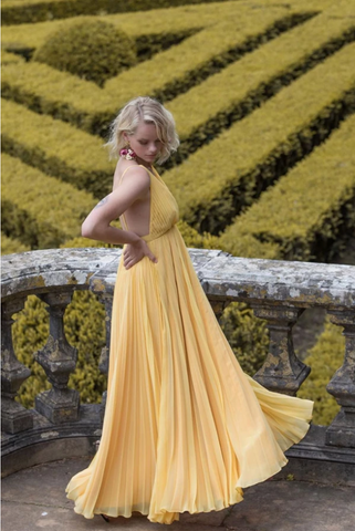Yellow chiffon long prom dress, yellow evening dress, CD482