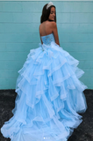 Blue sweetheart neck tulle beads long prom dress, blue evening dress, CD483