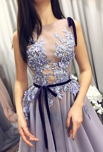 Elegant tulle lace applique long prom dress, evening dress, CD488