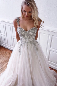 Unique white tulle sweetheart long prom dress, white evening dress, CD494
