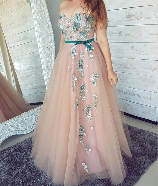 PinK sweetheart neck tulle lace applique long prom dress, pink evening dress, CD502