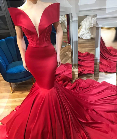 Unique red satin mermaid long prom dress, evening dress, CD507