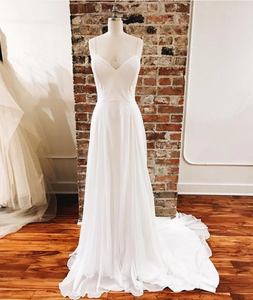 Simple White chiffon long prom dress, white evening dress, CD510