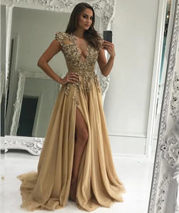 Champagne v neck chiffon lace applique long prom dresses, CD515