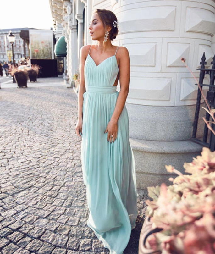 Simple A-line Backless Chiffon Green Long Prom Dress, Evening Dress, CD521
