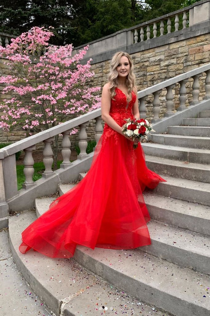 RED V NECK TULLE LACE LONG PROM DRESS RED LACE LONG EVENING DRESS, CD523