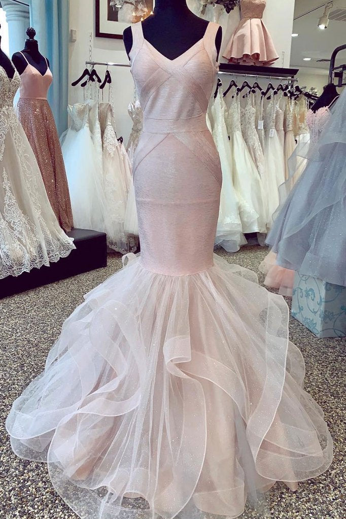 UNIQUE TULLE MERMAID LONG PROM DRESS TULLE FORMAL DRESS, CD527